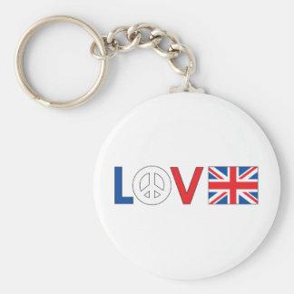 Paz Gran Bretaña del amor Llavero Personalizado