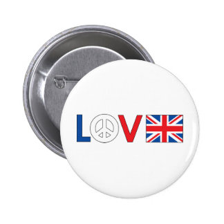 Paz Gran Bretaña del amor Pin Redondo De 2 Pulgadas