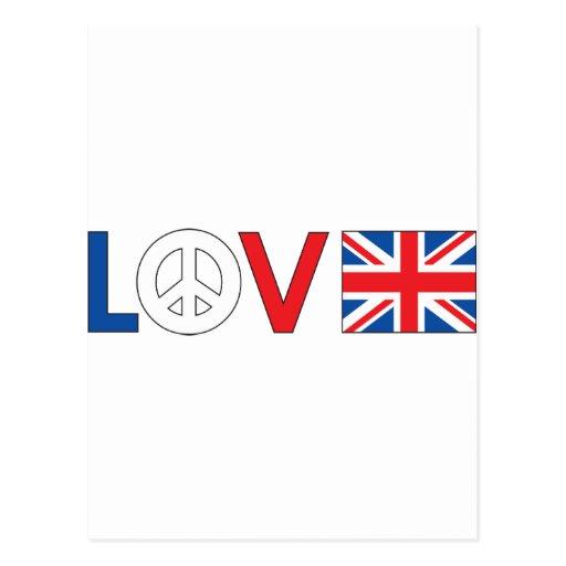Paz Gran Bretaña del amor Postal