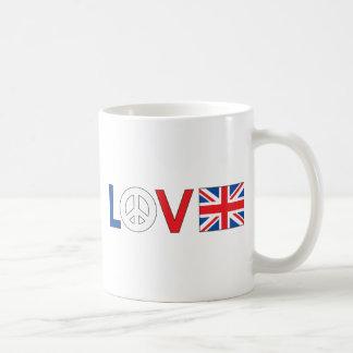 Paz Gran Bretaña del amor Taza Básica Blanca