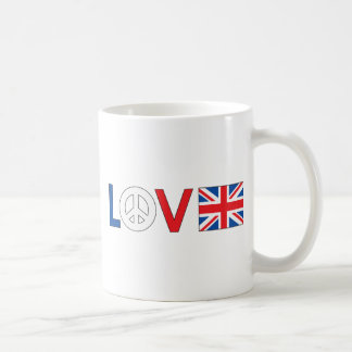 Paz Gran Bretaña del amor Taza De Café