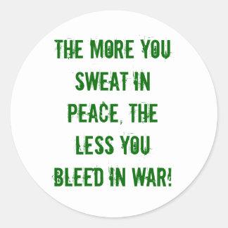 paz, guerra, sudor, corrimiento pegatina redonda