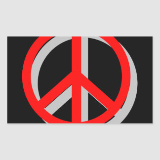 Paz hacia fuera pegatina rectangular