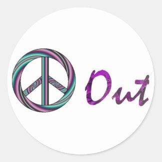 Paz hacia fuera pegatina redonda