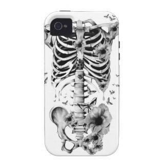 Paz interna, esqueleto con las amapolas y mariposa iPhone 4 carcasas