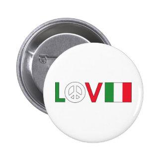Paz Italia del amor Pin Redondo De 2 Pulgadas