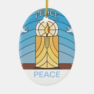 Paz - Juan 14 v27 Adorno Navideño Ovalado De Cerámica