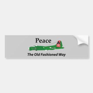 Paz la manera pasada de moda etiqueta de parachoque