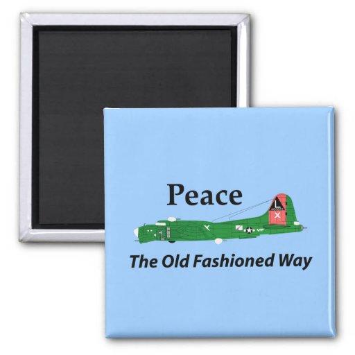 Paz la manera pasada de moda imán cuadrado
