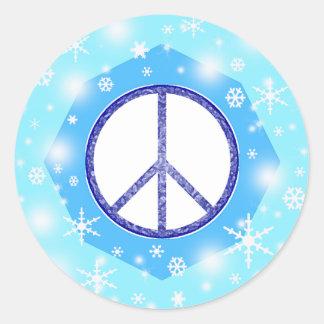 Paz linda hermosa del invierno del navidad del pegatina redonda