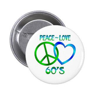Paz - los años 60 del amor pin redondo 5 cm