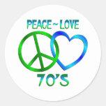 Paz - los años 70 del amor etiqueta redonda