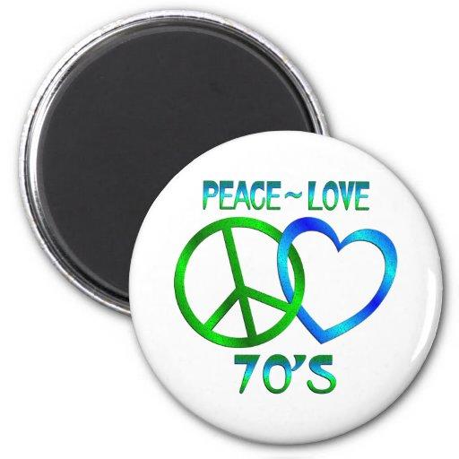 Paz - los años 70 del amor iman de nevera