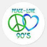 Paz - los años 90 del amor pegatina redonda