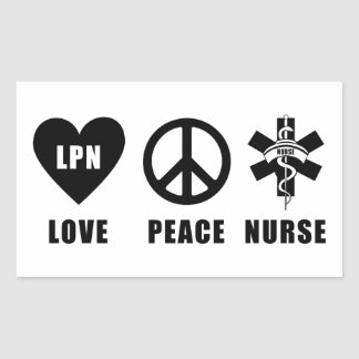Paz LPN del amor de las enfermeras Pegatina Rectangular