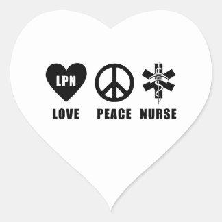 Paz LPN del amor de las enfermeras Pegatina En Forma De Corazón