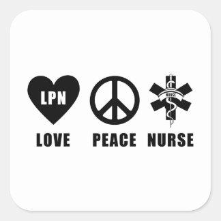Paz LPN del amor de las enfermeras Pegatina Cuadrada