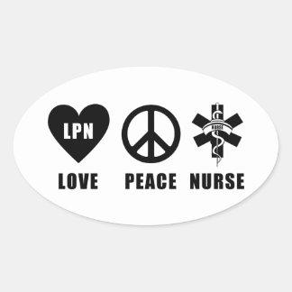 Paz LPN del amor de las enfermeras Pegatina Ovalada