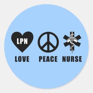 Paz LPN del amor de las enfermeras Pegatina Redonda