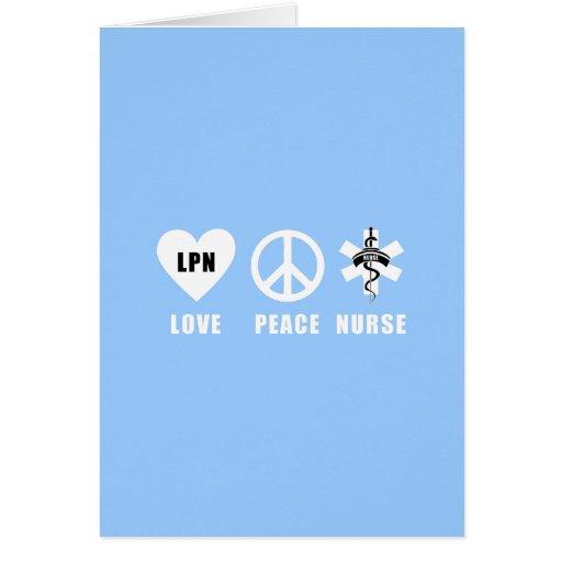 Paz LPN del amor Tarjeta Pequeña