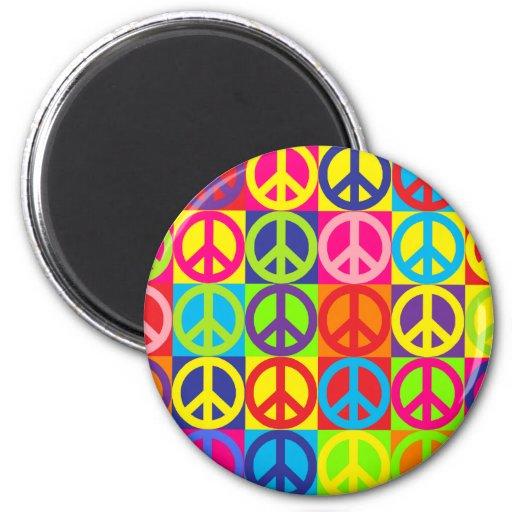 Paz multicolora imán redondo 5 cm