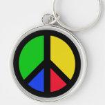 Paz multicolora llaveros personalizados