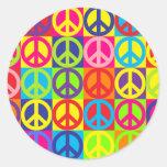 Paz multicolora múltiple pegatina redonda