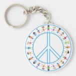 Paz - niños en todo el mundo llavero