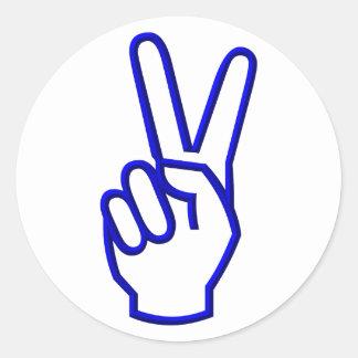 Paz o V para la victoria Pegatinas Redondas