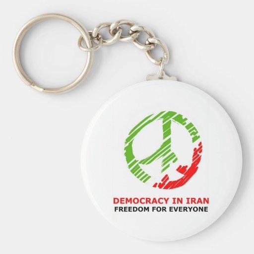 paz para Irán Llavero Redondo Tipo Pin