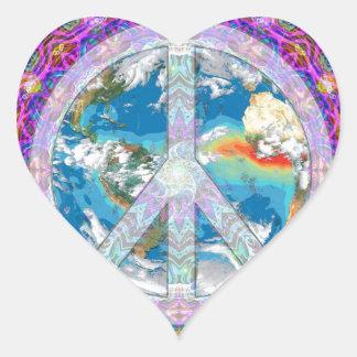 Paz Pegatina De Corazón