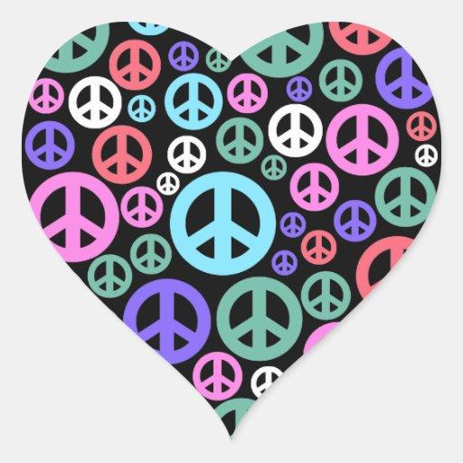 Paz Pegatina En Forma De Corazón