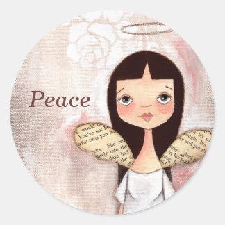 Paz - pegatinas del ángel pegatina redonda
