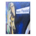 Paz por favor tarjeta postal