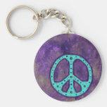 Paz púrpura llaveros