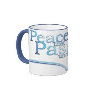Paz que pasa la taza cristiana de comprensión