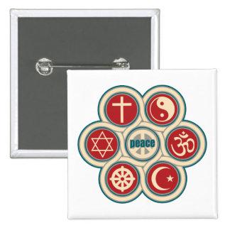 Paz religiosa del mundo pin cuadrado