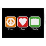 Paz retra, amor, tarjeta de libros