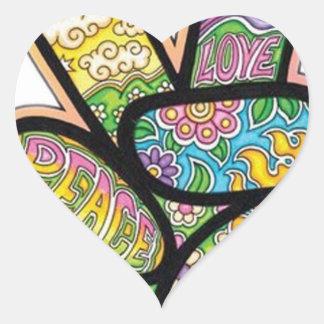 Paz retra del Hippie Pegatina En Forma De Corazón