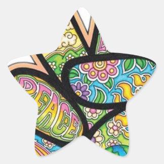 Paz retra del Hippie Pegatina En Forma De Estrella