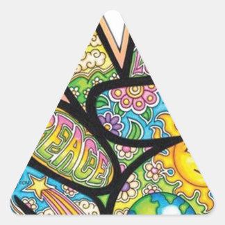 Paz retra del Hippie Pegatina Triangular