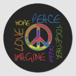 Paz retra pegatinas redondas