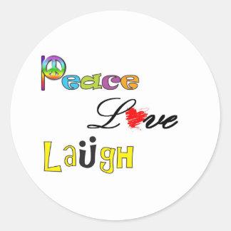 Paz, risa del amor etiqueta redonda