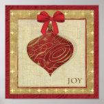Paz roja de la decoración del navidad póster