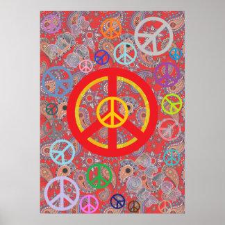 Paz roja de Paisley Poster