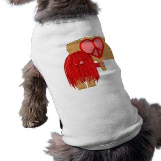 Paz roja del amor playera sin mangas para perro