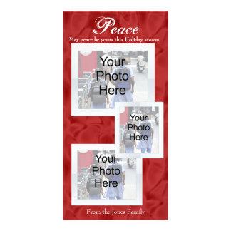 Paz roja del navidad blanco 3 tarjetas de la foto tarjetas fotográficas