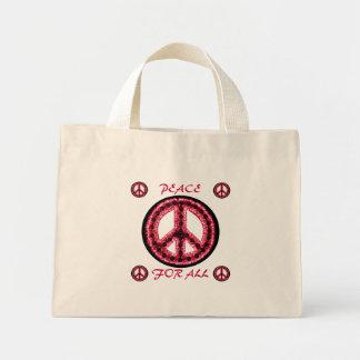 paz roja para todo el bolso bolsa tela pequeña