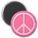 Paz rosada del lunar imán para frigorífico