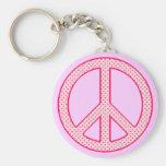 Paz rosada del lunar llavero personalizado